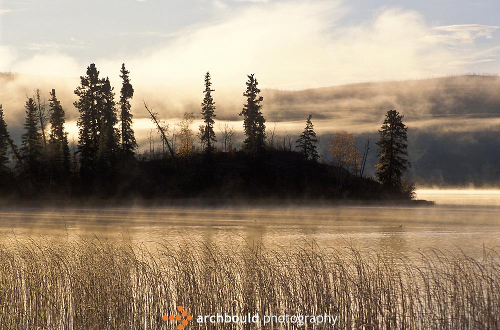 Fall mist rises over Yukon lake.