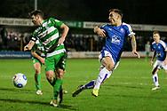 Lee Vaughan (Tranmere Rovers) gets a shot in on target during the Vanarama National League match between North Ferriby United and Tranmere Rovers at Eon Visual Media Stadium, North Ferriby, United Kingdom on 21 March 2017. Photo by Mark P Doherty.