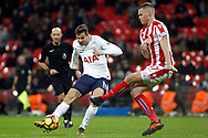 Fernando Llorente of Tottenham Hotspur(L) has a shot  blocked by Ryan Shawcross of Stoke City (R). Premier league match, Tottenham Hotspur v Stoke City at Wembley Stadium in London on Saturday 9th December 2017.<br /> pic by Steffan Bowen, Andrew Orchard sports photography.