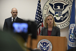 March 21, 2019 - Mcallen, Texas, U.S. - U.S. Homeland Security Secretary Kirstjen Nielsen holds a press conference following discussions with U.S. Border Patrol McAllen Station staff March 21, 2019 in McAllen, Texas. (Credit Image: © Tara Molle via ZUMA Wire)