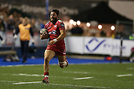 DTH van der Merwe of the Scarlets  runs in to score a try. .Guinness Pro12 rugby match, Cardiff Blues v Scarlets at the BT Cardiff Arms Park in Cardiff, South Wales on Friday 28th October 2016.<br /> pic by Andrew Orchard, Andrew Orchard sports photography.