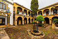 A courtyard in the Old City, Cordoba, Cordoba Province, Andalusia, Spain.