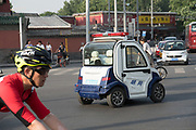 Electric powered police vehicle<br /><br />Electric vehicles are everywhere on China's roads, from battery powered pedal bikes to hybrid cars, electric buses and all types of service vehicles.