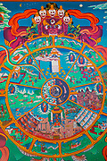 Hindu mural colourful art. Photographed in a rural and remote village in the Himalayas, Himachal Pradesh, India