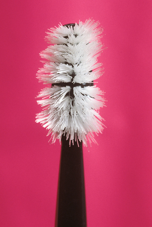 front view of an intensively used toothbrush