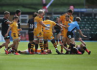 Rugby Union - 2019 / 202 Gallagher Premiership - Saracens vs Wasps<br /> <br /> Owen Farrell (right) is about to  receive the red card after a high tackle on Charlie Atkinson (left) at Allianz Park.<br /> <br /> COLORSPORT/ANDREW COWIE
