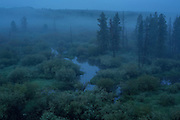 Early dawn along the north fork of the Big Hole River in Big Hole National Battlefield, Montana.