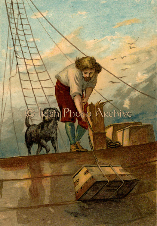 Robinson Crusoe, accompanied by his dog, lowering useful items salvaged from the shipwreck onto his raft. Chromolithograph  from 'The Life and Strange Surprising Adventures of Robinson Crusoe' by Daniel Defoe (London, 1891). The book was first published in 1719.  Illustration by John Dawson Watson (1832-1892).