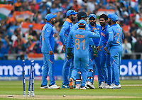 Cricket - 2019 ICC Cricket World Cup - Semi-Final: India vs. New Zealand<br /> <br /> India's Ravindra Jadeja celebrates taking the wicket of New Zealand's Henry Nicholls bowled for 28, at Old Trafford, Manchester.<br /> <br /> COLORSPORT/ASHLEY WESTERN