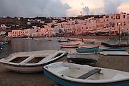 A dusk scene on the island of Mykonos, Greece.  Photograph by Dennis Brack