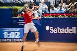 April 28, 2018 - Barcelona, Catalonia, Spain - STEFANOS TSITSIPAS (GRE) returns the ball to Pablo Carreno Busta (ESP) in their semi-final of the 'Barcelona Open Banc Sabadell' 2018. Tsitsipas won 7:5, 6:3 (Credit Image: © Matthias Oesterle via ZUMA Wire)