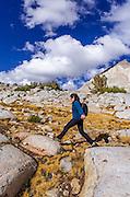 Hiker in Dusy Basin, Kings Canyon National Park, California USA