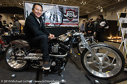 Ken Kenji Nagai at the Annual Mooneyes Yokohama Hot Rod and Custom Show. Japan. Sunday, December 7, 2014. Photograph ©2014 Michael Lichter.
