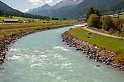 The Inn river near Zuoz, Maloja Region, Graubünden, Switzerland