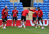 Gareth Bale of Wales (2nd r) in action during the Wales football team training at the Cardiff city Stadium in Cardiff , South Wales on Friday 1st September 2017.  the team are preparing for their FIFA World Cup qualifier home to Austria tomorrow.  pic by Andrew Orchard, Andrew Orchard sports photography
