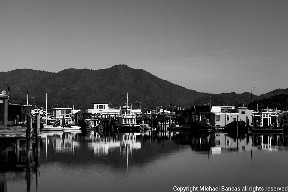 Sausalito houseboats with My Tamalpais in the background