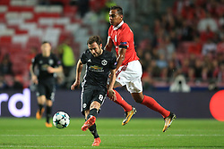 18 October 2017 -  UEFA Champions League - (Group A) - SL Benfica v Manchester United  - Juan Mata of Manchester United in action with Filipe Augusto of Benfica - Photo: Marc Atkins/Offside
