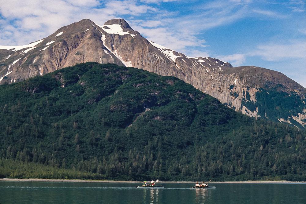 Sea kayaking in Hugh Miller Inlet, Glacier Bay National Park, National Park, Alaska, USA