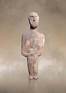 Post canonical ancient Greek Cycladic warrior or hunter figurine, Late Ccladic prioc II to Cycladic period II (2500-2000 BC)Museum of Cycladic Art Athens, cat no 308.<br /> <br /> The relif of a baldric crossing the body left to righ suggest the figure was of a warrior or hunter. A small triangular dagger is incised as if hanging from the baldric.