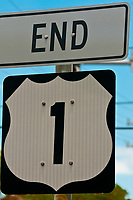 Sign for end of U. S. 1 (Overseas Highway), Key West, Florida Keys, Florida USA