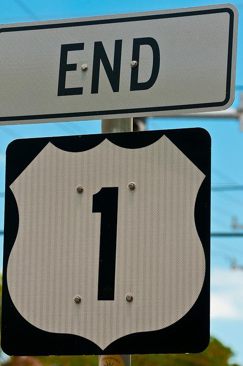 Sign for end of U. S. 1 (Overseas Highway), Key West, Florida Keys, Florida USA