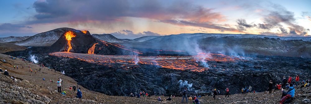 A volcanic eruption Geldingadalur valley in the Fagradals mountain. The eruption began late the 19th of March. This image is taken 20th of March.