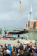 IMAGE PROVIDED FREE FOR EDITORIAL USE <br /> <br /> INEOS TEAM UK today officially christened their first America's Cup race boat from their HQ in Portsmouth, naming her 'Britannia' in homage to one of Britain's most famous racing yachts. The state-of-the-art boat has taken some 90,000 hours of design and 50,000 hours of construction to create one of the most complex yachts in America's Cup history. <br /> <br /> 'Britannia' was christened by Julia Ratcliffe, the 11-year old daughter of Sir Jim Ratcliffe INEOS TEAM UK founder and owner, at a ceremony outside INEOS TEAM UK's HQ in Portsmouth. <br /> <br /> Image shows from left - Sir Jim Ratcliffe, owner and founder, INEOS TEAM UK, Julia Ratcliffe, godmother of 'Britannia' and Sir Ben Ainslie, Team Principal, CEO and Skipper, INEOS TEAM UK<br /> <br /> <br /> Picture date Friday 4th October, 2019.<br /> Picture by Christopher Ison for INEOS Team UK. Contact +447544 044177 <br /> chris@christopherison.com
