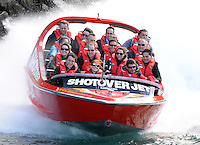 The Duke and Duchess of Cambridge travel on the Shotover Jet along the Shotover River, Dunedin, New Zealand as part of their tour of New Zealand and Australia on the 13th April 2014.