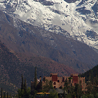 Africa,  Morocco, Asni. View of the Atlas Mountains and Richard Branson's Moroccan Retreat, Kasbah Tamadot.