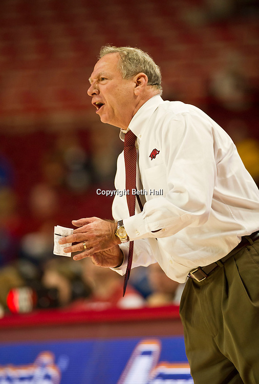Jan 29, 2012; Fayetteville, AR, USA; Arkansas Razorbacks head coach Tom Collen reacts to a play during a game against the Florida Gators at Bud Walton Arena. Arkansas defeated Florida 73-72 in the second overtime. Mandatory Credit: Beth Hall-US PRESSWIRE