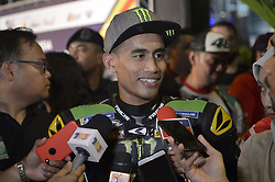 October 31, 2018 - Kuala Lumpur, Malaysia - Malaysian MotoGP rider Hafizh Syahrin of Monster Yamaha Tech 3 speaks to the media during a MotoGP pre-event ahead of Malaysian Grand Prix in Kuala Lumpur, Malaysia on October 31, 2018. (Credit Image: © Zahim Mohd/NurPhoto via ZUMA Press)