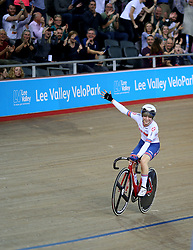 Laura Kenny of Great Britain celebrates after winning the Women's Madison Final during day three of the Tissot UCI Track Cycling World Cup at Lee Valley VeloPark, London.