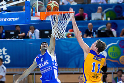 04.09.2013, Arena Bonifka, Koper, SLO, Eurobasket EM 2013, Schweden vs Griechenland, im Bild Jonas Jerebko #11 of Sweden and Kostas Sloukas #4 of Greece // during Eurobasket EM 2013 match between Sweden and Greece at Arena Bonifka in Koper, Slowenia on 2013/09/04. EXPA Pictures © 2013, PhotoCredit: EXPA/ Sportida/ Matic Klansek Velej<br /> <br /> ***** ATTENTION - OUT OF SLO *****