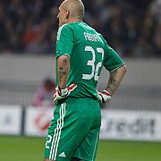 NLD/Amsterdam/20100928 - Champions Leaguewedstrijd Ajax - AC Milan, keeper Christian Abbiati met tatoeages op zijn arm van een geldteken en pistool