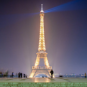 Eiffel Tower at night as seen from Trocadero, Paris.