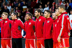28.10.2018, Raiffeisen Sportpark, Graz, AUT, EHF, Euro Cup, Österreich vs Schweden, im Bild Wilhelm Jelinek (AUT), Thomas Eichberger (AUT), Thomas Kandolf (AUT), Nikola Bilyk (AUT), Tobias Wagner (AUT), Kristian Pilipovic (AUT), Martin Breg (AUT), Christoph Neuhold (AUT), Romas Kirveliavicius (AUT)// during the EHF Euro Cup Match between Austria and Sweden at the Raiffeisen Sportpark, Graz, Austria on 2018/10/28. EXPA Pictures © 2018, PhotoCredit: EXPA/ Sebastian Pucher