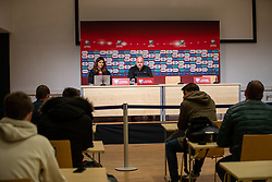 TALLINN, ESTONIA - Monday, October 11, 2021: Wales' manager Robert Page during a post-match press conference after the FIFA World Cup Qatar 2022 Qualifying Group E match between Estonia and Wales at at the A. Le Coq Arena. Wales won 1-0. (Pic by David Rawcliffe/Propaganda)