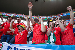 BORDEAUX, FRANCE - Saturday, June 11, 2016: Wales supporters celebrate their side's 2-1 victory over Slovakia during the UEFA Euro 2016 Championship at Stade de Bordeaux. (Pic by Paul Greenwood/Propaganda)