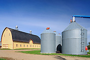 Yellow barn and Grain bins in farmyard - Property Released<br /> Yellow Grass<br /> Saskatchewan<br /> Canada