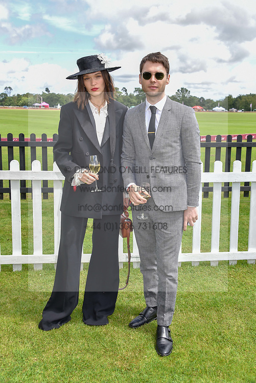 Joe Doyle and Anna Brewster, at the Cartier Queen's Cup Polo 2019 held at Guards Polo Club, Windsor, Berkshire. UK 16 June 2019. <br /> <br /> Photo by Dominic O'Neill/Desmond O'Neill Features Ltd.  +44(0)7092 235465  www.donfeatures.com