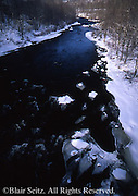Northeast PA landscape, Hickory <br /> Run State Park, river and snow