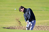 Ronan McCrory (Lurgan) in a bunker on the 1st during Round 2 of the Ulster Boys Championship at Donegal Golf Club, Murvagh, Donegal, Co Donegal on Thursday 25th April 2019.<br /> Picture:  Thos Caffrey / www.golffile.ie