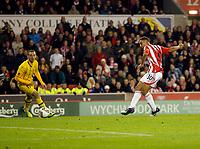 20111020: STOKE ON TRENT, ENGLAND - UEFA Europe League Group E: Stoke City vs Maccabi Tel-aviv.<br /> In photo: Ryan Shotton scores the the third goal of the game for Stoke City.<br /> PHOTO: CITYFILES