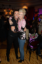 JULIEN MACDONALD and ANITA DOBSON at a private performance by Frances Ruffelle entitled 'Paris Original' at The Crazy Coqs, Brasserie Zedel, 20 Sherwood Street, London on 8th October 2013.