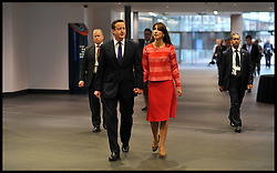 The Prime Minister David Cameron arrives with his wife Samantha to give his  speech to the Conservative Party Conference in Manchester, Wednesday October 5, 2011. Photo By Andrew Parsons/i-Images