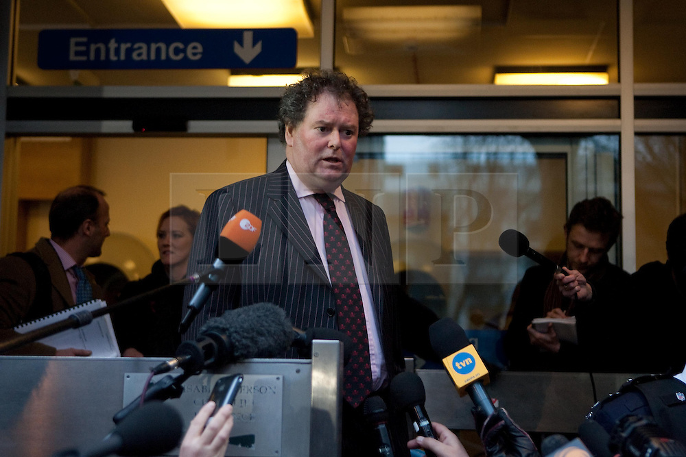 ©London News Picures. Julian Assange's lawyer Mark Stephens speaks to the press. Wikileaks's founder Julian Assange arriving at Westminster magistrate court in London on 7 December. Photo credit should read Fuat Akyuz/London News Pictures.