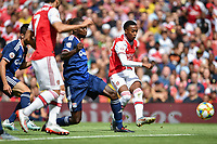 Football - 2019 Emirates Cup - Arsenal vs. Lyon<br /> <br /> Arsenal's Joe Willock shoots at goal, at the Emirates Stadium.<br /> <br /> COLORSPORT/ASHLEY WESTERN