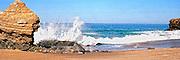 Waves Crashing into the Rocks on the Coast of Laguna Beach Panorama