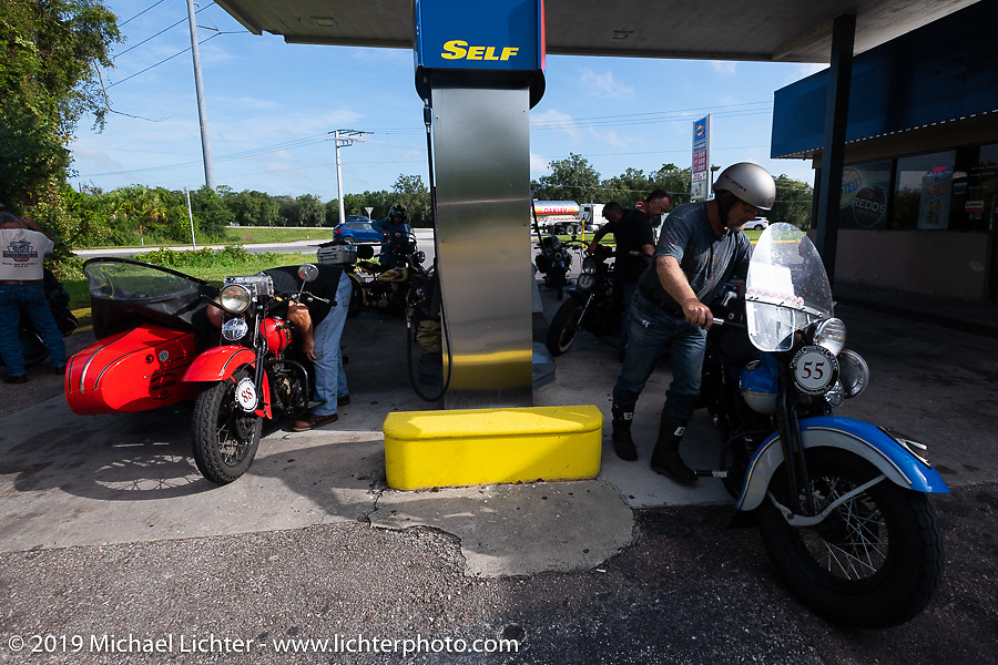 Erik Dunk and Marty Patterson stop for fuel during the Cross Country Chase motorcycle endurance run from Sault Sainte Marie, MI to Key West, FL. (for vintage bikes from 1930-1948). Stage-9 covered 259 miles from Lakeland, FL to Miami, FL USA. Saturday, September 14, 2019. Photography ©2019 Michael Lichter.