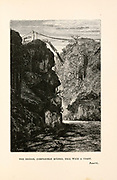 The Bridge, Completely Ruined, Fell With a Crash. from the book ' Around the world in eighty days ' by Jules Verne (1828-1905) Translated by Geo. M. Towle, Published in Boston by James. R. Osgood & Co. 1873 First US Edition